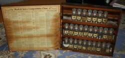 Vintage 1965 Three Mountaineers Wood Herb Spice Cabinet 27 Out Of 30 Og Bottles