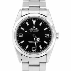 2001 Menand039s Rolex Explorer I Black 36mm 14270 K Stainless Steel Oyster Watch