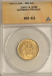 1907-a German States Prussia 20 Mark Gold Coin Anacs Ms 63 Ms63 Wilhelm Ii 1907a