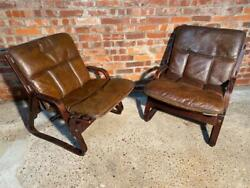 Vintage 1970 Scandinavian Pair Of Patinated Armchairs Retro Leather Hand Dyed