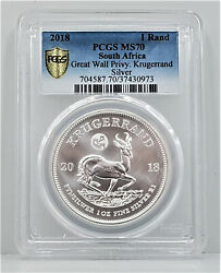 2018 South Africa 1oz 999 Silver Krugerrand Pcgs Ms 70 Great Wall Privy Mark Se2