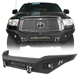 Full Width Steel Front Bumper W/ Skid Plate And Led Light Fit 07-13 Toyota Tundra