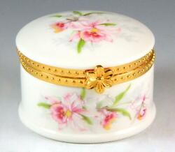New Pink Green Orchid Flower Decorated Porcelain Hinged Round Trinket / Pill Box