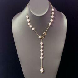 Diamond Akoya South Sea Pearl Lariat Necklace 14k Gold Certified 3950 910817
