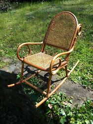 Childs Rattan And Bamboo Bentwood Chair Rocker, With Age