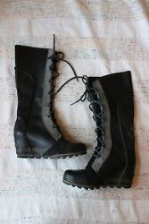 Sorel Cate The Great Black Gray Leather Wedge Tall Boots Size 7.5m