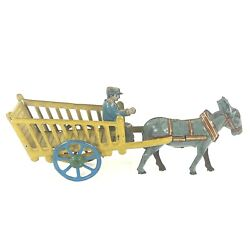 """Rare Antique German Penny Tin Toy Horse Pulling Wagon Cart Driver Germany 6"""""""
