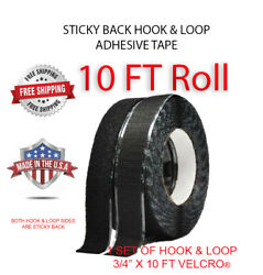 Sticky Back   Self Adhesive   Hook And Loop Tape   3/4andrdquo X 10 Ft   Black