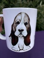 Vintage BASSET HOUND Orca Coatings THIS IS MY HAPPY FACE Coffee Mug ❤️sj11h2s