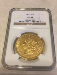 1853 Au55 Ngc Liberty Double Eagle Type 1 20 Gold Coin Great Appeal No Pcgs