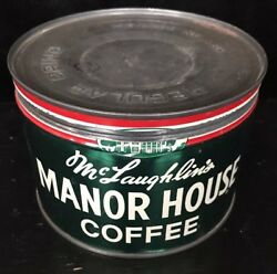 Vintage 1 Lb Mclaughlin's Manor House Coffee Tin Can With Lid Keywind