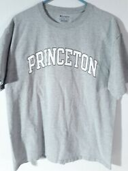 Champion Princeton T Shirt Sz Large Ivy League Gray Tigers Spell Out Usa Ncaa