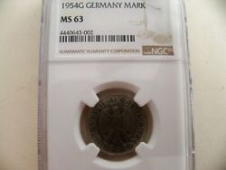 Germany 1954g Mark C/n Coin Ngc Ms 63 Rare