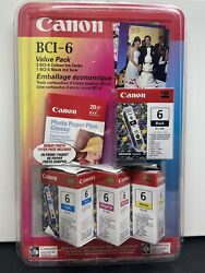 """Canon 24 Bci-24 1 Color 3 Black Value Pack W/ 4""""x6"""" Photo Glossy Paper"""