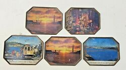 Antique Metal Old Collectible Coffee And Tea Cup Costars Plates Set Of 5