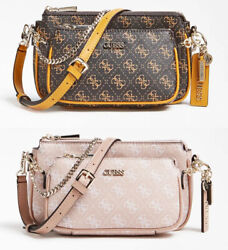 ARIE Double Pouch Crossbody Bags 4G Pattern Women#x27;s Handbag NWT VG788570 $34.99
