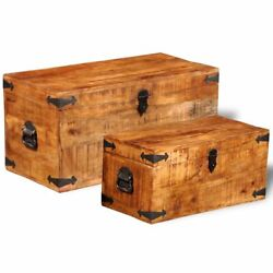 New Set Of 2 Mango Wood Blanket Toy Storage Chests Boxes Trunks Home Decor