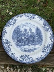 Grand Plat Gâteau Rond Coaching Scenes Johnson Brother Porcelaine Anglaise