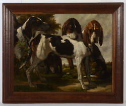 Constant Troyon 1810-1865-attrib. Hunting Dogs Oil On Canvas 1850/60