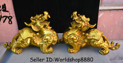 16 Chinese Brass Copper Feng Shui Pixiu Brave Troops Beast Wealth Statue Pair