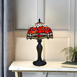 Red And White Dragonfly Table Lamp 10 Inch Style Stained Glass Shade