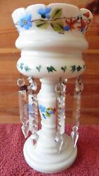 Antique Victorian Mantle Luster White Glass Hand Painted Vintage Crystal Prisms
