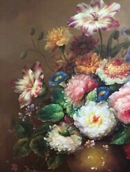 Vintage Dutch Master Style Flowers Oil Painting