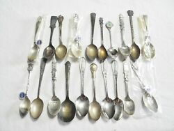 19pc Lot Antique Sterling Silver Collector Souvenir Spoons And 1 Heirloom Sterling