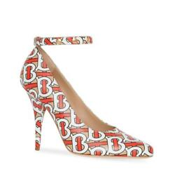 790 Womenand039s Tan/red/white Leather Tb Monogram Ankle Strap Pump 8012322
