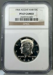 1964 Accent Hair 50c Kennedy Half Ngc Pf67 Cameo