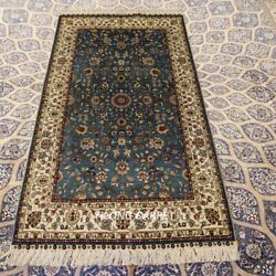 Yilong 3and039x5and039 Blue Hand Knotted Silk Carpet Strip High Density Home Area Rug 299h