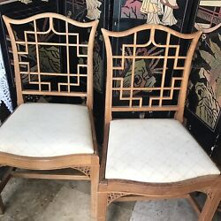 Fretwork Chinese Chippendale Pair Dining Chairs Chinoiserie Palm Beach Decor Mcm