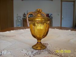 Viking Glass Mid-century Modern Gold Honey Amber Covered Pedestal Candy Dish