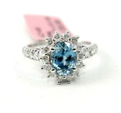 Oval Blue Zircon And Diamond Halo Solitaire Ladyand039s Ring 14k White Gold 3.41ct