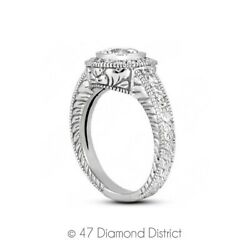 1.12 Ct E-vs2 Round Natural Diamonds 14k Gold Vintage Style Side-stone Ring