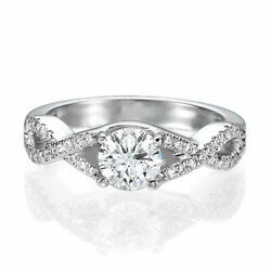 1 3/4 Ct Anneau Fianandccedilailles Diamant Rond Coupe H / Si2 14k Blanc Or Taille