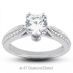 0.74 Ct F Si1 Round Natural Diamonds 14k Gold Vintage Style Sidestone Ring