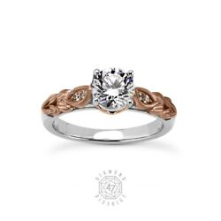 1.14 Ct F-si1 Round Natural Diamonds 18k Gold Vintage Style Side-stone Ring