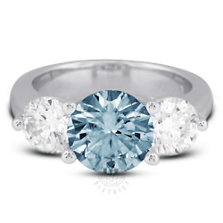 1.29 Ct Blue Si2 Round Natural Certified Diamonds 18k Classic Engagement Ring