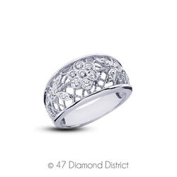 0.43ct Total E-vs2 Round Cut Natural Certified Diamonds 14k Gold Fashion Ring