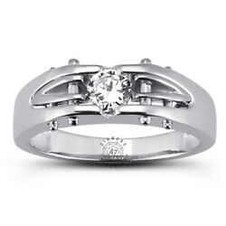 0.56ct D Si1 Round Brilliant Earth Mined Certified Diamond 18k Gold Menand039s Ring