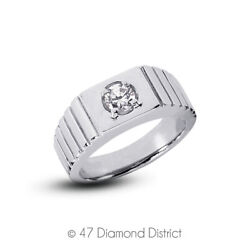 0.36ct F Si1 Round Brilliant Earth Mined Certified Diamond 14k Gold Menand039s Ring