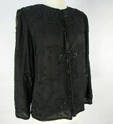 Vintage 90s Black Rayon Evening Jacket Size L Floral Beaded Gauze Life And Style