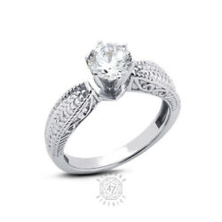 1.06ct G Si2 Round Natural Diamond 14k Gold Vintage Solitaire Engagement Ring