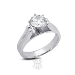 0.58ct F Si2 Round Natural Certified Diamond Pt 950 Solitaire Engagement Ring