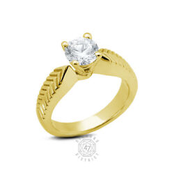0.75ct I Si1 Round Natural Diamond 14k Gold Vintage Solitaire Engagement Ring