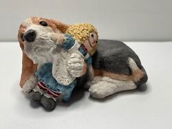Vintage Stone Critters Basset with Rag Doll SC 355