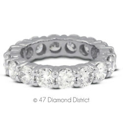 1 1/2 Ct F Vs2 Round Natural Certified Diamonds 18k Gold Classic Eternity Ring