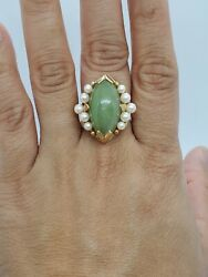 Ming's 14k Solid Gold Green Jade And White Pearl Ring