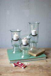Recycled Glass Votive Cylinders With Glass Base Clear Color, Tea Light Set Of 3